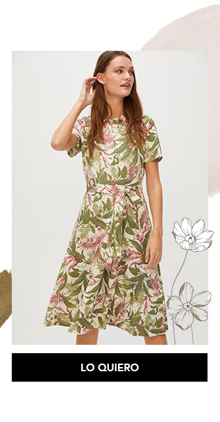 Vestido hojas Cortefiel