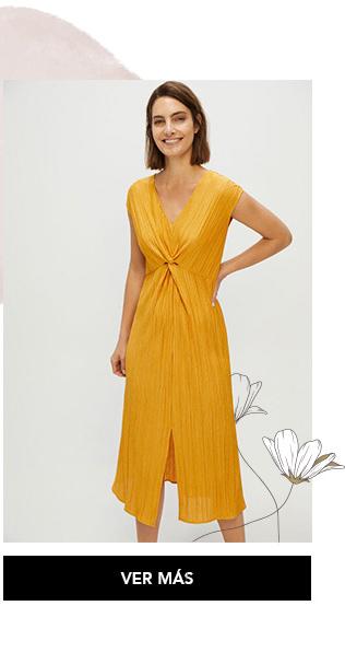 Vestido amarillo nudo Cortefiel