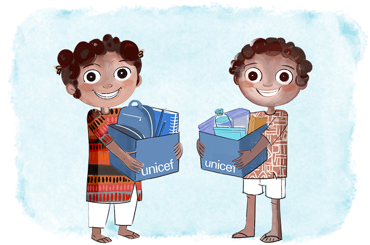 Dona suministros UNICEF