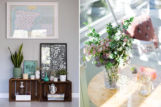 decoracion salon flores jarrones