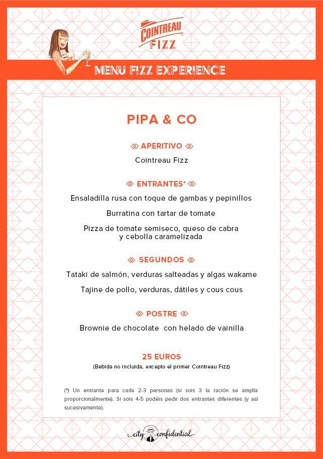 Menú Fizz Experience Pipa & Co