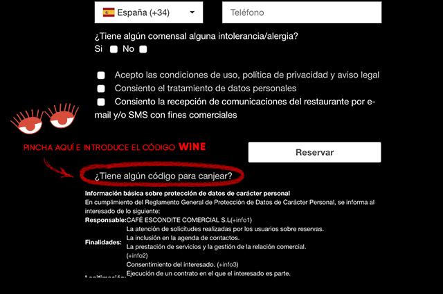 Instrucciones para reservar Wine Experience