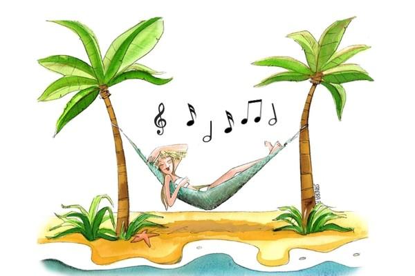 Verano musical, ilustración, playlist primavera, banda sonora del verano,