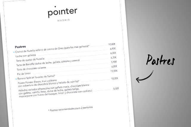 Carta Pointer Madrid