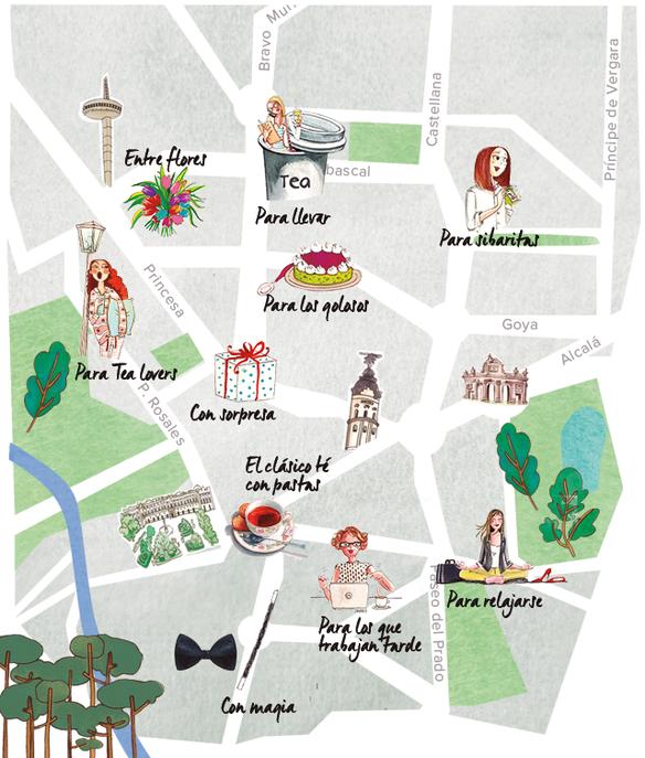 Mapa del té en Madrid