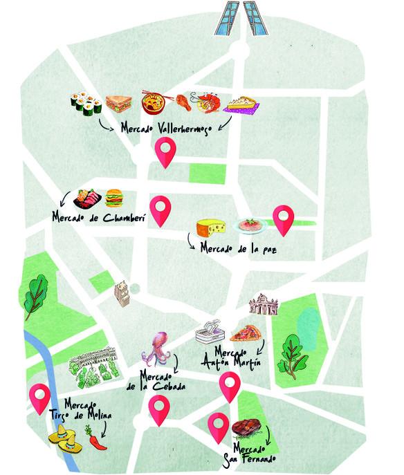 Mapa de los mejores puestos de mercados de Madrid