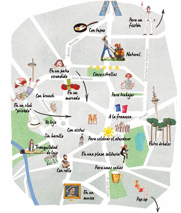 Mapa de las mejores terrazas de Madrid